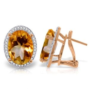 EARRING WITH NATURAL DIAMONDS & CITRINES